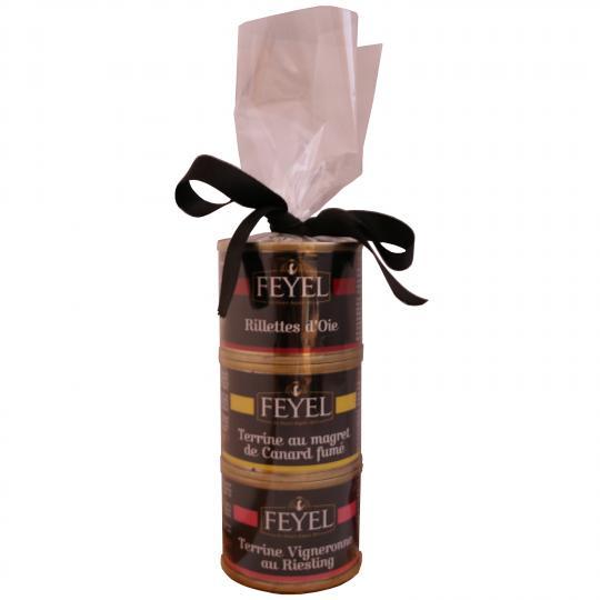Feyel Geschenkpackung  mit 3 Sorten Rilettes,  Terrinen und Pasteten